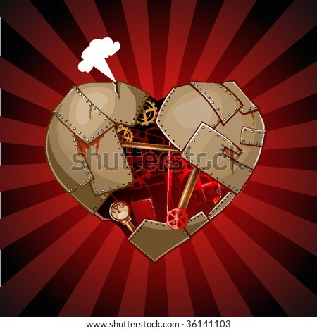 Rusty, corroded heart with pipes, gear - stock vector
