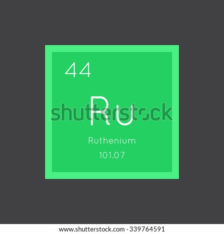 Ruthenium simple style tile icon. Chemical element of periodic table. Vector illustration EPS8