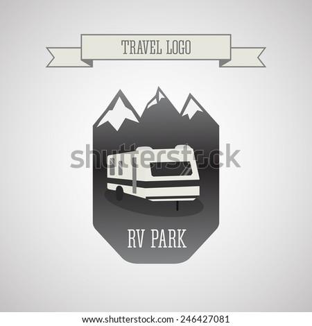 RV and caravan park logo, badges. Outdoor theme. Grayscale design. Vector illustration - stock vector