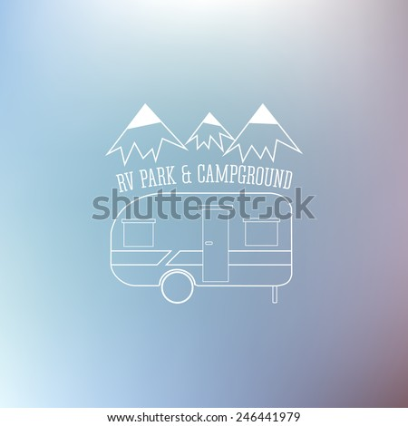RV and caravan park template. Can be used as logo, badges banner, poster, flyer etc. Outdoor theme. Grayscale design. Vector illustration. - stock vector