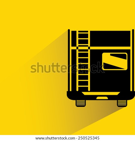 RV back view car on yellow background, flat and shadow theme - stock vector