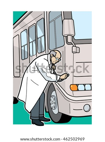 RV being checked by a doctor using a stethoscope, vector illustration