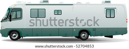 Rv camper in vector - stock vector