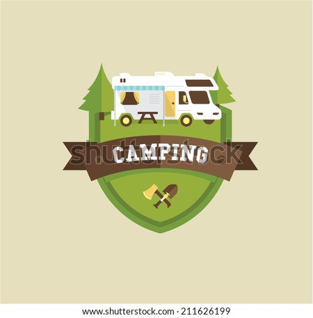 RV camping - stock vector