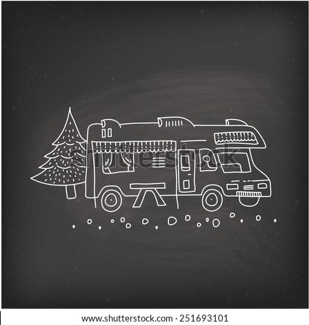 RV camping - stock vector