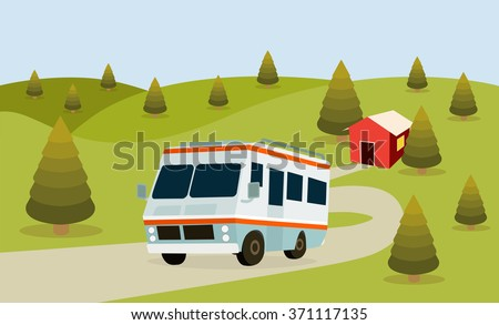 RV Camping forest background for family travel