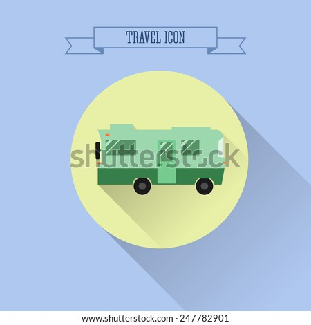 RV camping icon. Caravan button in flat design with shadow. On blue background. Vector illustration - stock vector