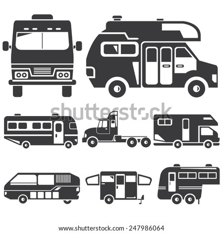 Rv Car Icons Recreational Vehicles Camper 247986064