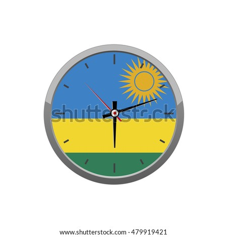 RWANDA flag on wall clock