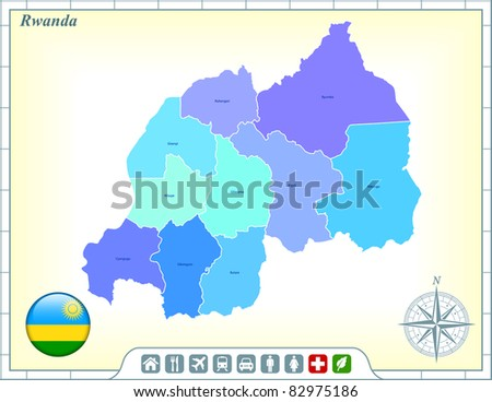 Rwanda Map with Flag Buttons and Assistance & Activates Icons Original Illustration - stock vector