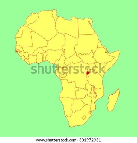 Rwanda vector map isolated on Africa map. Editable vector map of Africa.  - stock vector