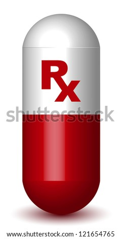 Rx Sign Red Capsule Pill - stock vector