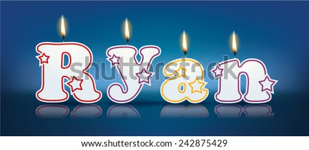 RYAN written with burning candles - vector illustration