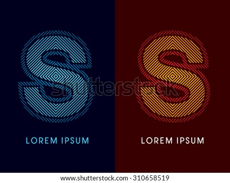 S ,abstract luxury font, Designed using cool and hot colors, line square, geometric shape, graphic vector. - stock vector