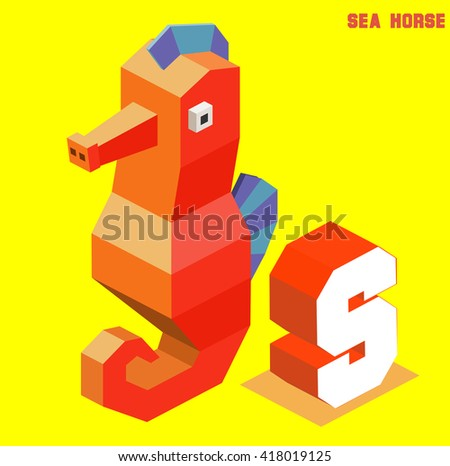 S for sea horse, Animal Alphabet collection. vector illustration