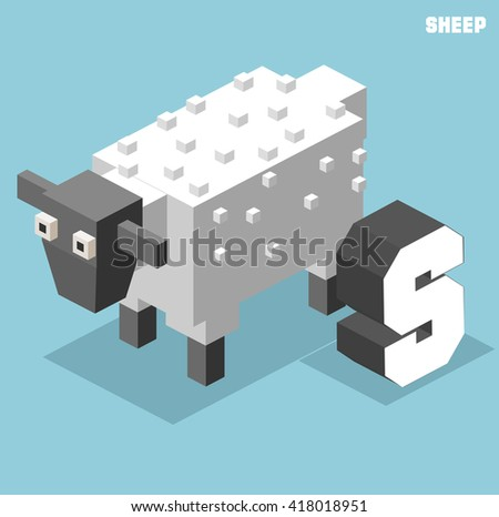 S for sheep, Animal Alphabet collection. vector illustration