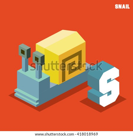 S for snail, Animal Alphabet collection. vector illustration - stock vector