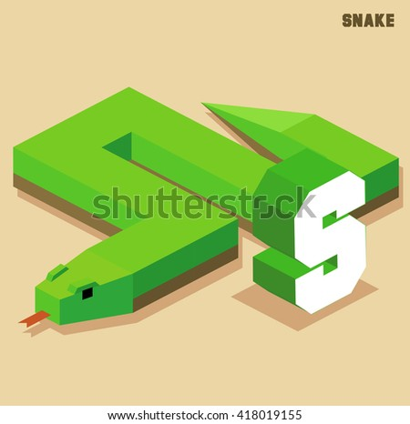 S for snake, Animal Alphabet collection. vector illustration - stock vector