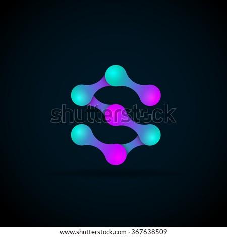 S letter logo icon template.Technology,network,digital,Vector Illustration - stock vector