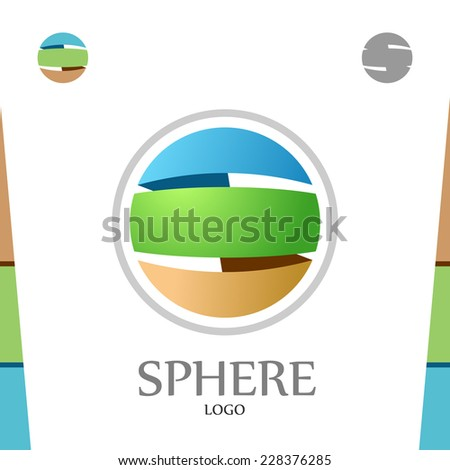 S letter logo template. Abstract sphere. Globe with colors of soil, nature and sky. - stock vector