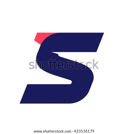 S letter run logo design template. Vector sport style typeface for sportswear, sports club, app icon, corporate identity, labels or posters. - stock vector
