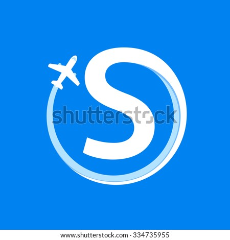 S letter with airline and plane. Vector design template elements for your application or corporate identity. - stock vector