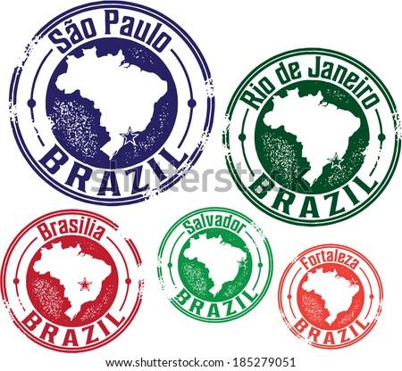 S�£o Paulo, Rio de Janeiro and Brazil City Stamps - stock vector
