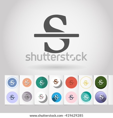 S round icon set from big collection of sets of formatting text tools and interface elements - stock vector