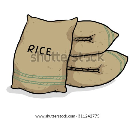 sac of rice / cartoon, hand drawn style. vector and illustration, isolated on white background. - stock vector