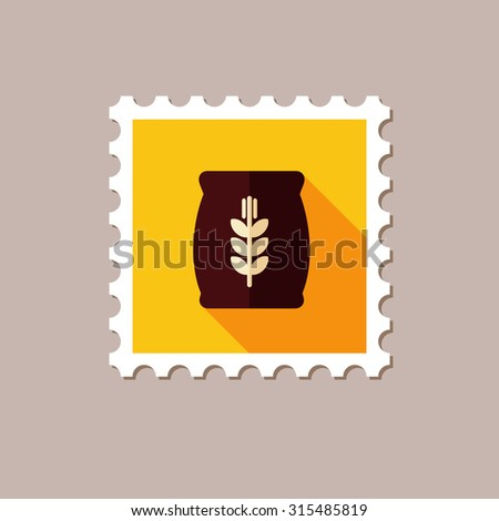Sack of grain flat stamp with long shadow - stock vector