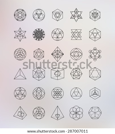 Sacred geometry. Alchemy, religion, philosophy, spirituality, hipster symbols and elements - stock vector