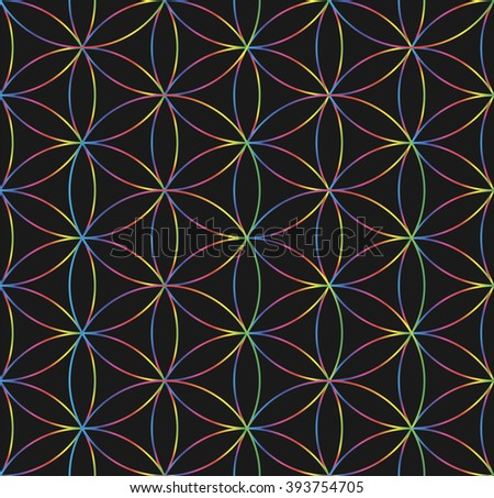 Sacred Geometry. Crossing evenly placed circles with same radius. Circles form a six-symmetrical pattern, which element looks like flower with six petals. Vector pattern. - stock vector