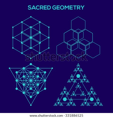 Sacred geometry. Hipster symbols and elements. Abstract Geometric Patterns with Hipster Style. Geometric shapes, triangles, line design. - stock vector