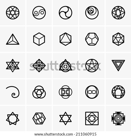 Sacred geometry icons - stock vector