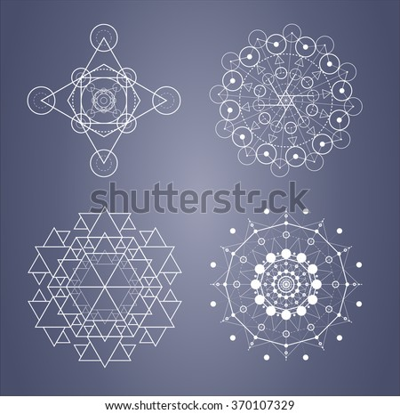 Sacred geometry set of complicated symbols in vector. Triangle and circle fractals. Numbers of Fibonacci. Alchemy. The golden section - stock vector