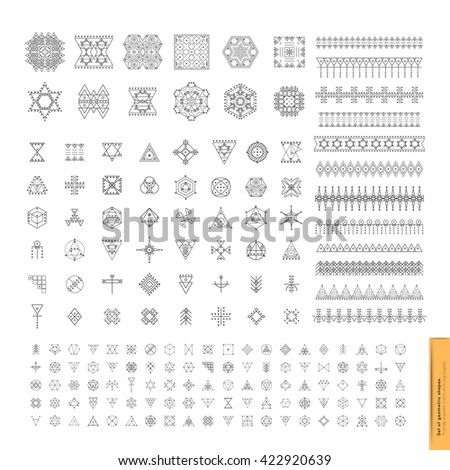 Sacred geometry. Set of minimal geometric shapes. Business signs, labels, trendy hipster linear icons and logotypes. Religion, philosophy, spirituality, occultism symbols collection