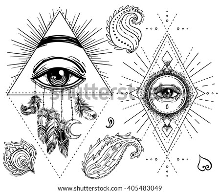 Sacred geometry symbol with all seeing eye isolated on white. Mystic, alchemy, occult concept. Design for indie music album cover, t-shirt print, boho poster, flyer. Astrology, shamanism, religion. - stock vector