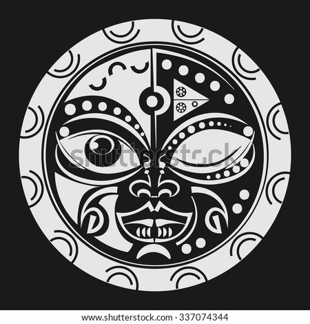 Sacred Geometry Tiki Mask Tattoo Tradition Stock Vector (Royalty ...