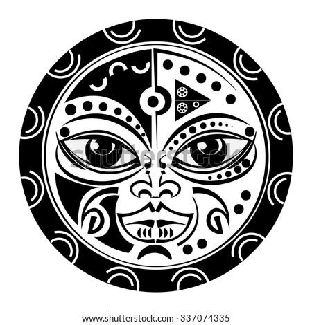 Sacred geometry - Tiki mask tattoo - tradition Polynesian and Maori sacral art,white background. - stock vector