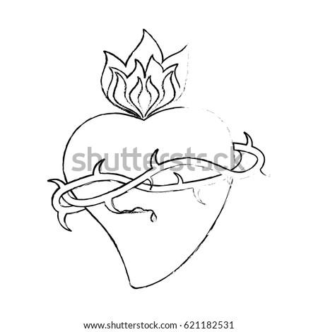 Sacred Heart Crown Thorns Sketch