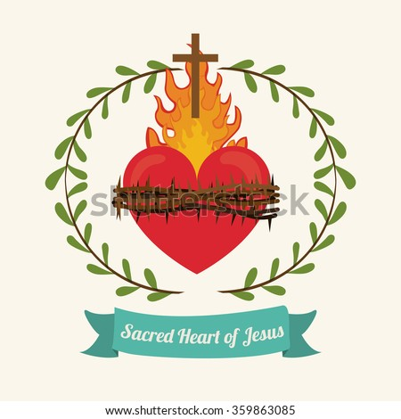 sacred heart of jesus design  - stock vector