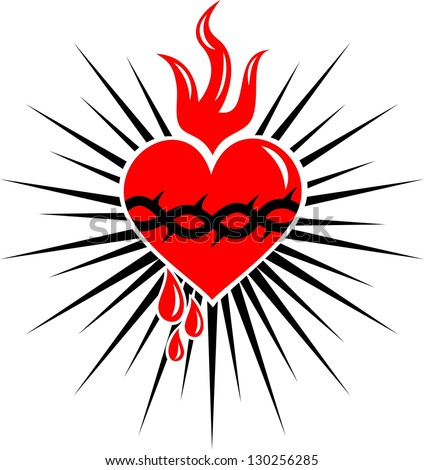 sacred heart of jesus - rays - vector image - stock vector