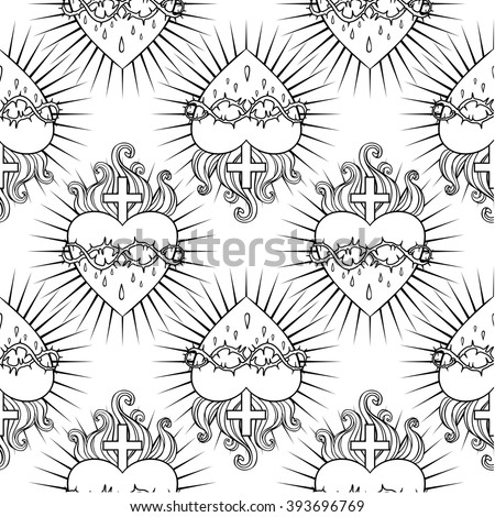 Sacred Heart of Jesus. Seamless pattern. Vector illustration. Trendy Vintage style element. Wrapping paper, religion, Christianity, philosophy, spirituality, alchemy, magic, love. Coloring book page. - stock vector