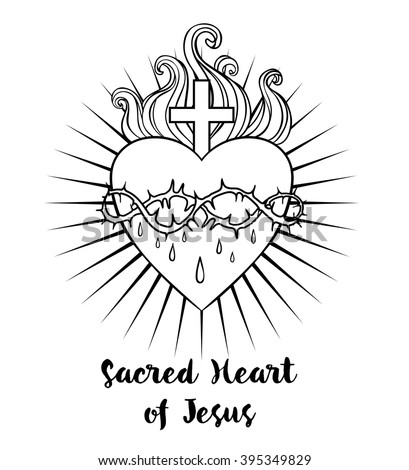Sacred Heart of Jesus. Vector illustration black isolated on white. Trendy Vintage style element. Spirituality, occultism, alchemy, magic, love. Coloring book for adults. - stock vector