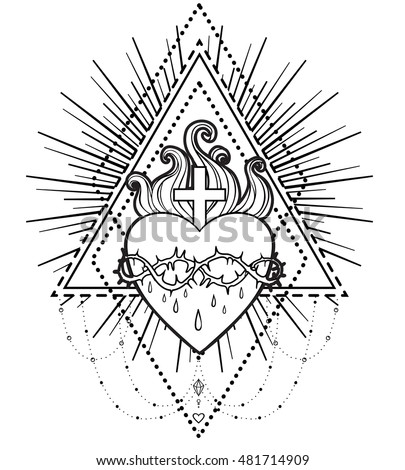 Sacred Heart of Jesus. Vector illustration isolated on white over  geometriy background. Vintage style element. Religion, occultism, alchemy, magic, love. Coloring book for adults.