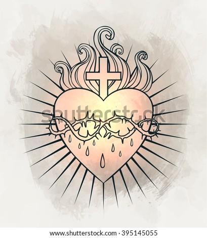 Sacred Heart of Jesus. Vector illustration over vintage background.  - stock vector