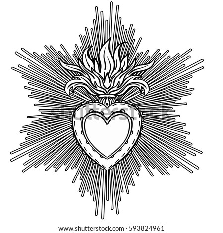 Sacred heart clip art black and white pictures to pin on for Sacred heart of jesus coloring page