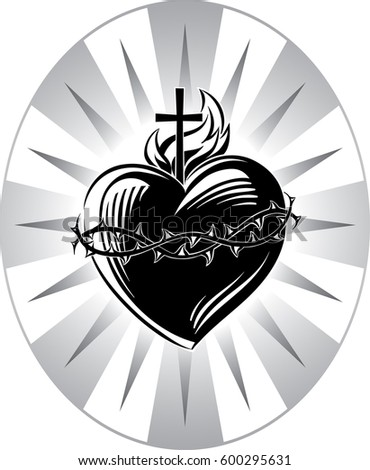Sacred Heart Jesus Symbols Passion Stock Vector 600295631 Shutterstock
