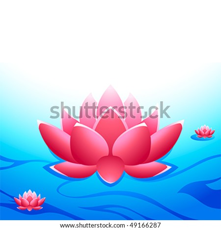 Sacred lotuses at the heaven's garden - stock vector