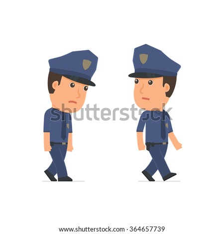 Sad and Frustrated Character Officer goes and drags. for use in presentations, etc.